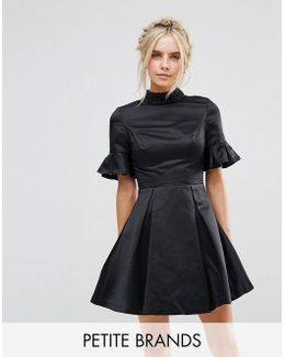 Petite High Neck Mini Dress With 3/4 Sleeve And Frill Detail