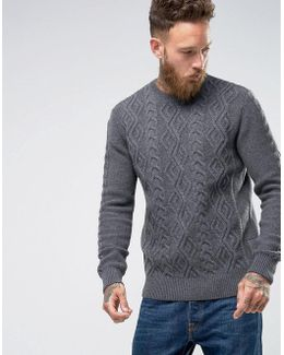 Barnard Cable Knit Crew Neck Jumper In Grey