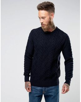 Barnard Cable Knit Crew Neck Jumper In Navy