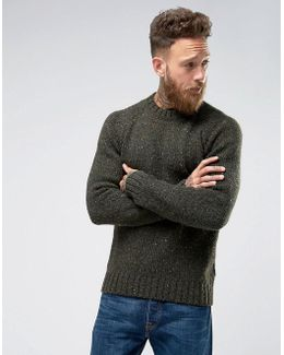 Netherby Donegal Crew Neck Jumper In Forest Green