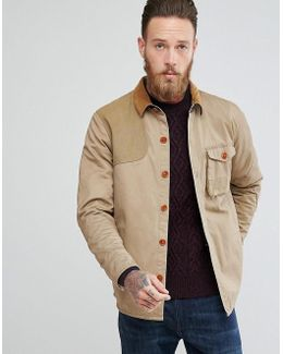 Clough Overshirt With Cord Collar In Stone