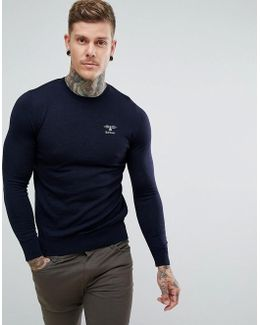Harley Crew Jumper With Logo In Navy