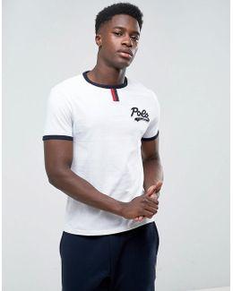 Custom Slim Fit Baseball T-shirt Ringer Logo In White