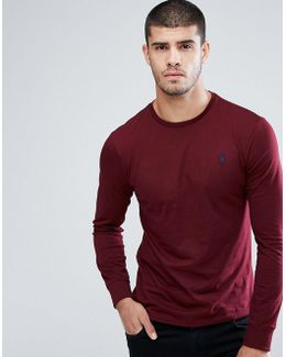 Long Sleeve Custon Slim Fit Top Crew Neck In Burgundy