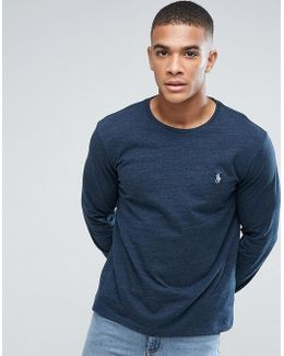 Long Sleeve Custom Slim Fit Top Crew Neck In Navy Marl