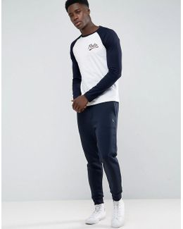 Performance Cuffed Sweat Pants Tapered Fit In Navy