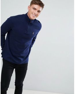 Half Zip Jumper Cotton In Navy
