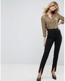 Skinny Pants With Scalloped Trim