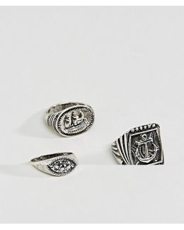 Nautical Chunky Ring Pack In Burnished Silver