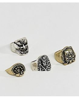 Chunky Ring Pack With Oversized Masks In Mixed Metal Finish