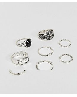Chunky Ring Pack With Shield And Stone Interest In Burnished Silver