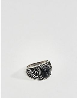 Embellished Chunky Ring With Black Look Stone