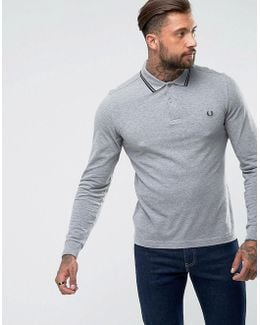 Slim Fit Long Sleeve Tipped Polo In Gray