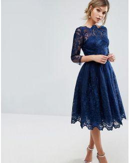 Premium Lace Midi Dress With 3/4 Length Sleeve