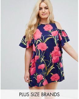 Plus Floral Cold Shoulder Tunic Dress