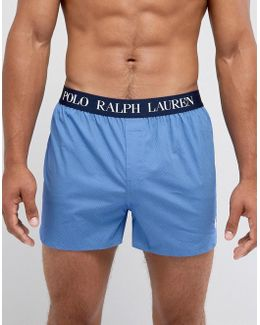 Woven Boxers Stretch Slim Fit In Blue Minidot