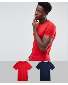 2 Pack T-shirt Stretch Slim Fit In Navy/red