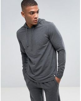 Long Sleeve Hoodie Brushed Jersey In Charcoal