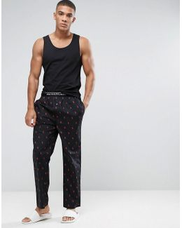 Lounge Pants All Over Player Regular Fit In Black