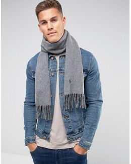 Player Reversible Scarf Wool In Light Grey/charcoal