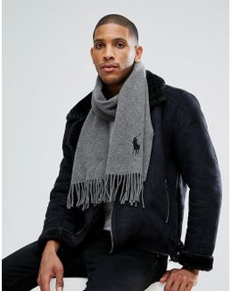 Large Pony Scarf Wool In Grey Marl/charcoal