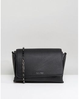 Pebble Finish Crossbody Flap Bag