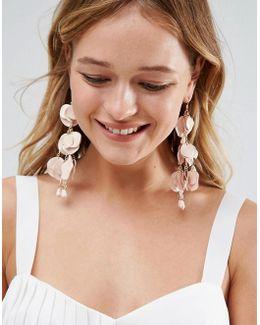 Metal Petal Drop Earrings