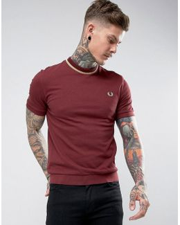 Reissues Tipped Pique T-shirt In Burgundy