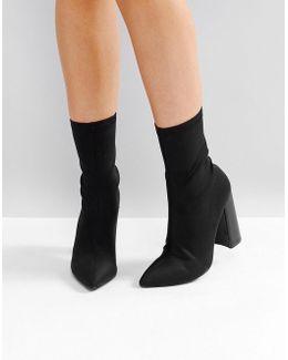 Libby Black High Heeled Sock Boots