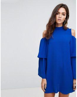 Cold Shoulder Frill Sleeve Shift Dress
