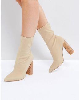Libby Nude High Heeled Sock Boots