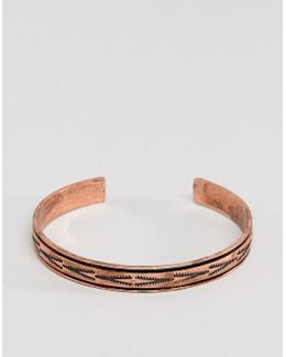 Copper Cuff With Aztec Engraving In Burnished Copper