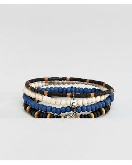 Beaded Bracelets With Anchor Charm In 4 Pack