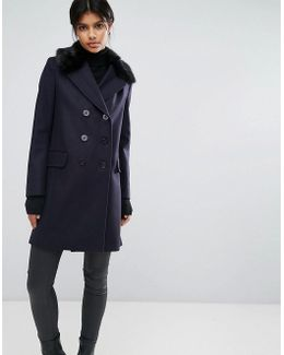 Navy Peacoat With Faux Fur Collar