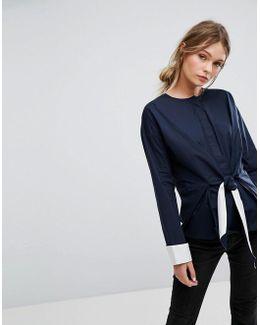 Contrast Tie Cotton Top