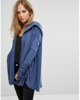 Get Yer Gauze Drawstring Hooded Cardigan