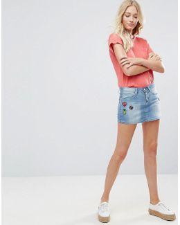 Blend Bright Lil Patches Denim Mini Skirt