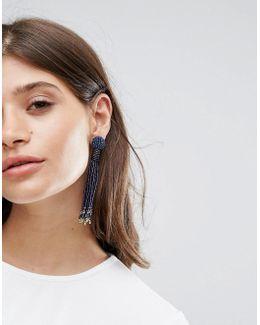 Beaded Drop Tassle Earrings