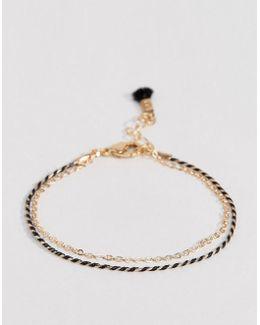 Double Row Fine Chain Tassel Bracelet