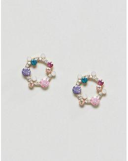 Rainbow Stone Mini Garland Earrings
