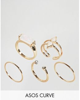 Pack Of 5 Faux Opal Rings