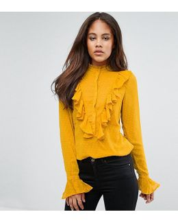 Ruffle Frill Textured Shirt