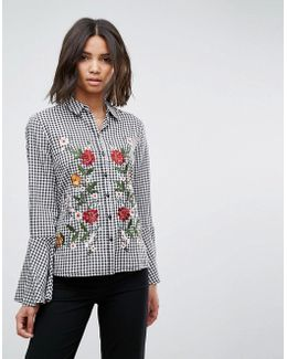 Gingham Embroidered Shirt