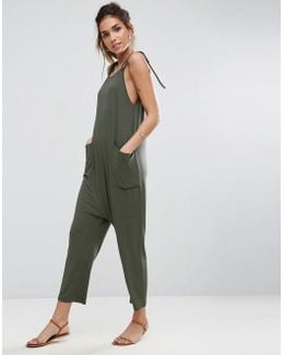 Jersey Minimal Jumpsuit With Ties
