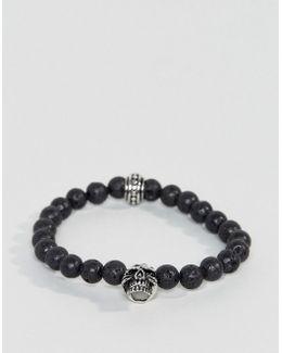 Black Beaded Bracelet With Skull