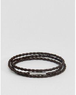 Brown Braided Leather Wrap Bracelet
