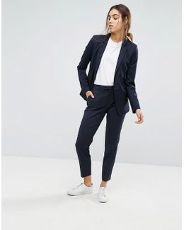 Foxy Lux Pinstripe Wool Blend Slim Cropped Tailored Pants