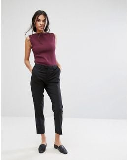 Foxy Lux Wool Blend Slim Cropped Tailored Pants