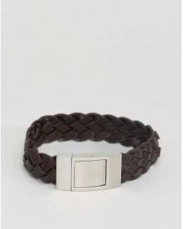 Leather Braided Bracelet In Brown