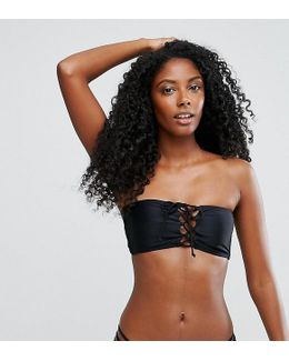 Mix And Match Tie Front Bandeau Bikini Top